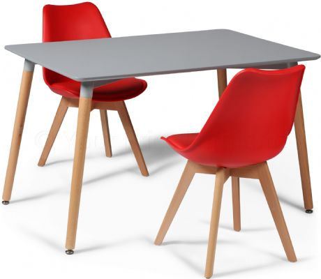 Toulouse Tulip Eiffel Designer Dining Set Grey Rectangular Table & 2 Red Chairs Sale Now On Your Price Furniture